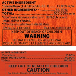 Picture of permethrin labels showing which contains petroleum distillates